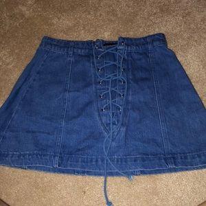 Jean mini tie skirt
